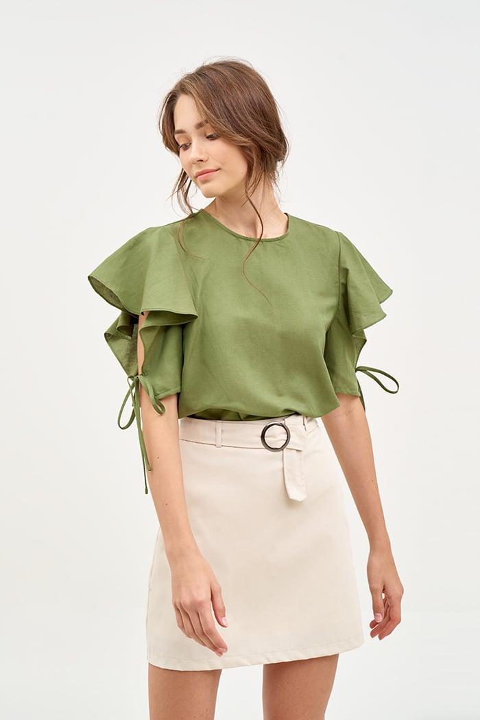 Váy A khaki basic kèm nịch fall19