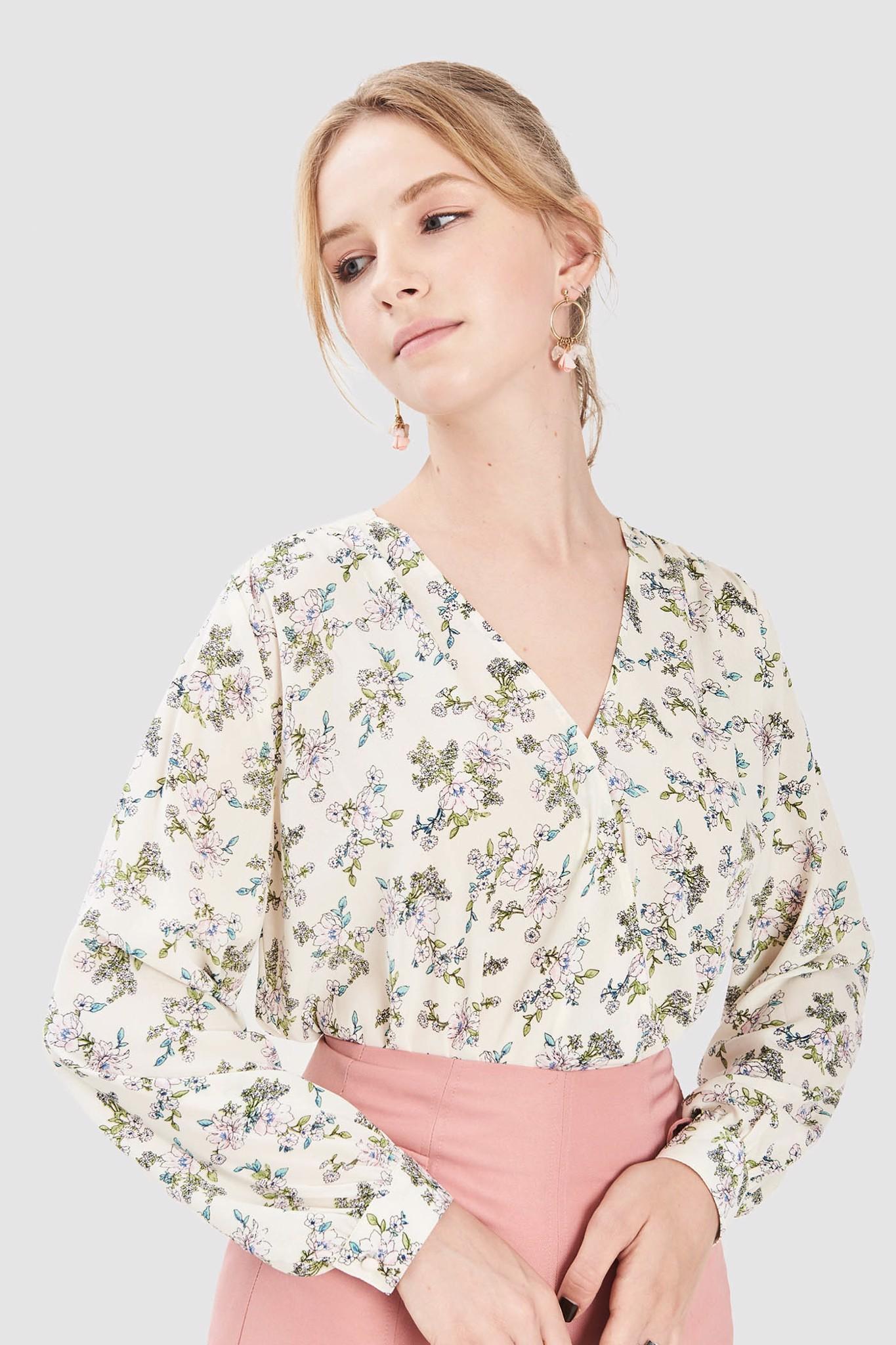 Áo kiểu đắp chéo họa tiết hoa
