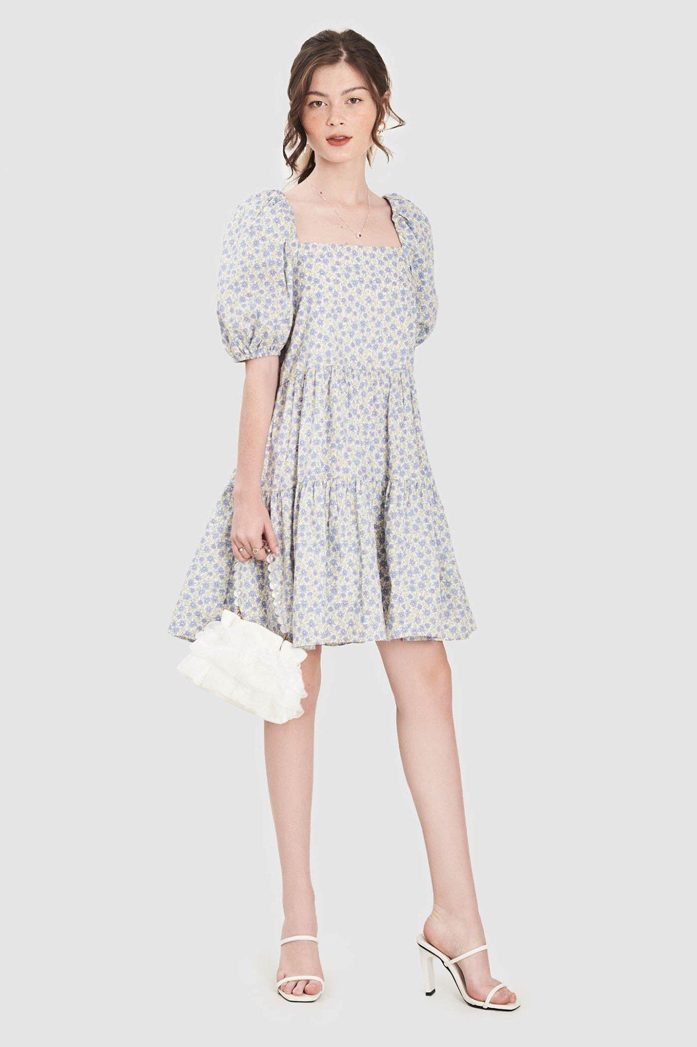 Đầm babydoll 3 tầng cổ vuông
