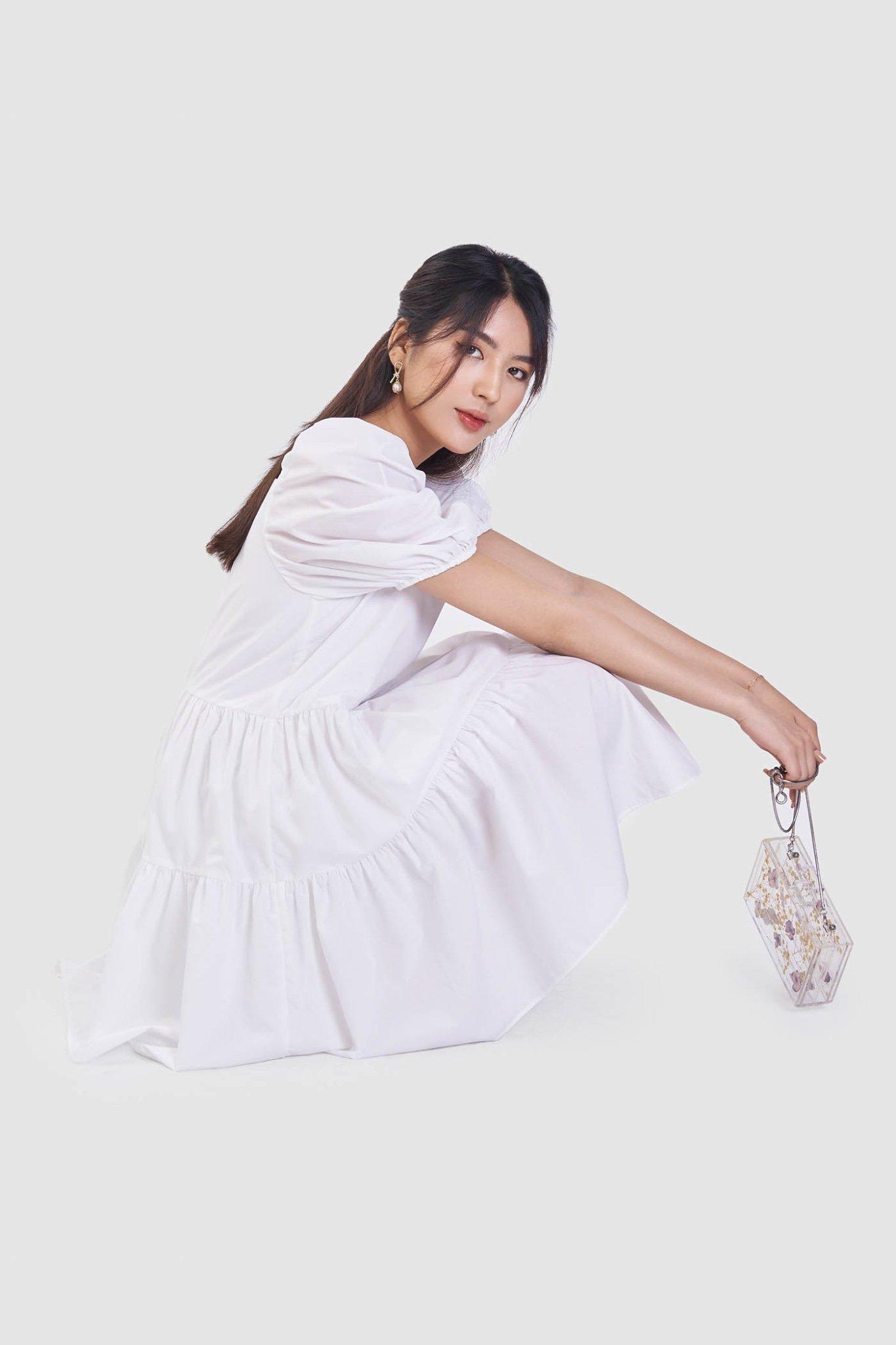 Đầm babydoll cotton cổ vuông 3 tầng