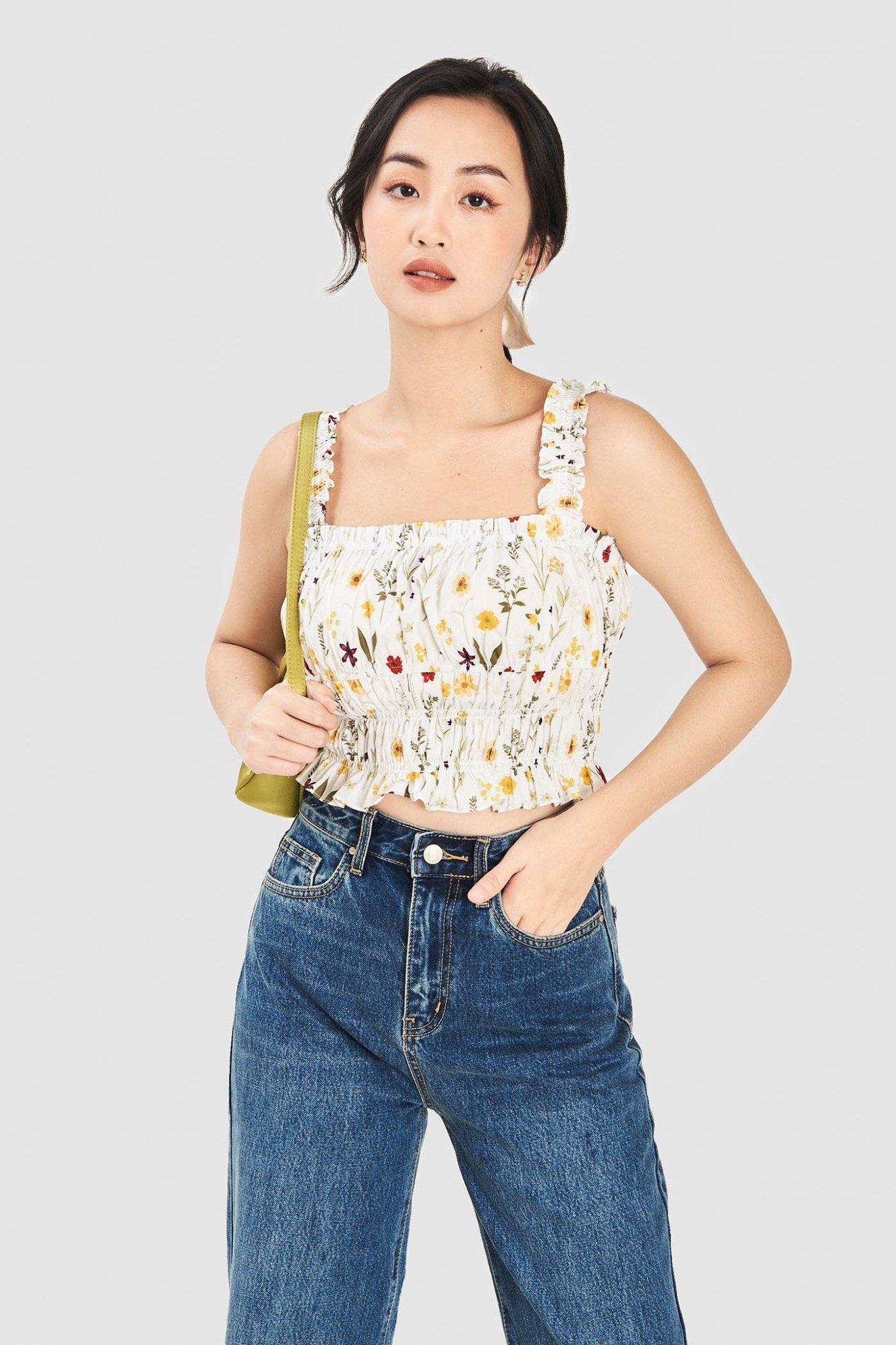 Áo 2 dây crop top rút nhún họa tiết hoa