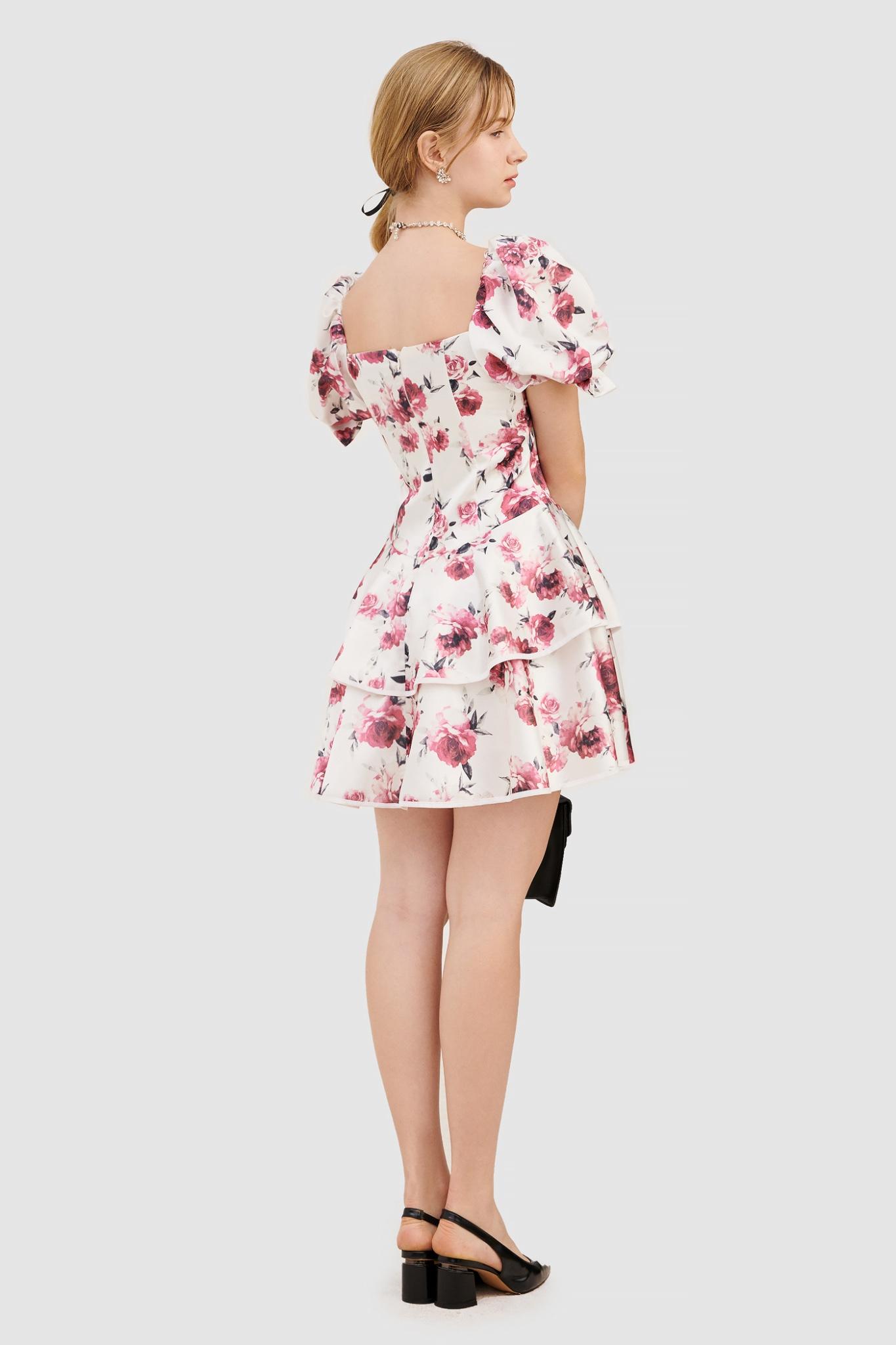 Đầm tay nhấn nơ 2 tầng hoạ tiết hoa