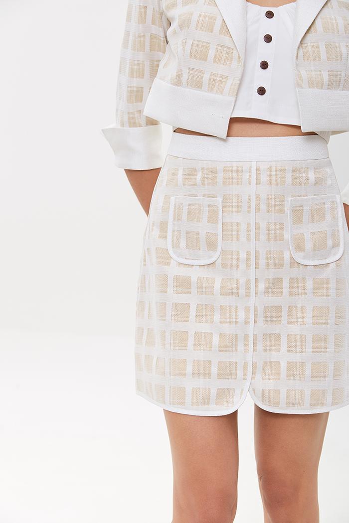 Váy voan caro 2 lớp đắp túi