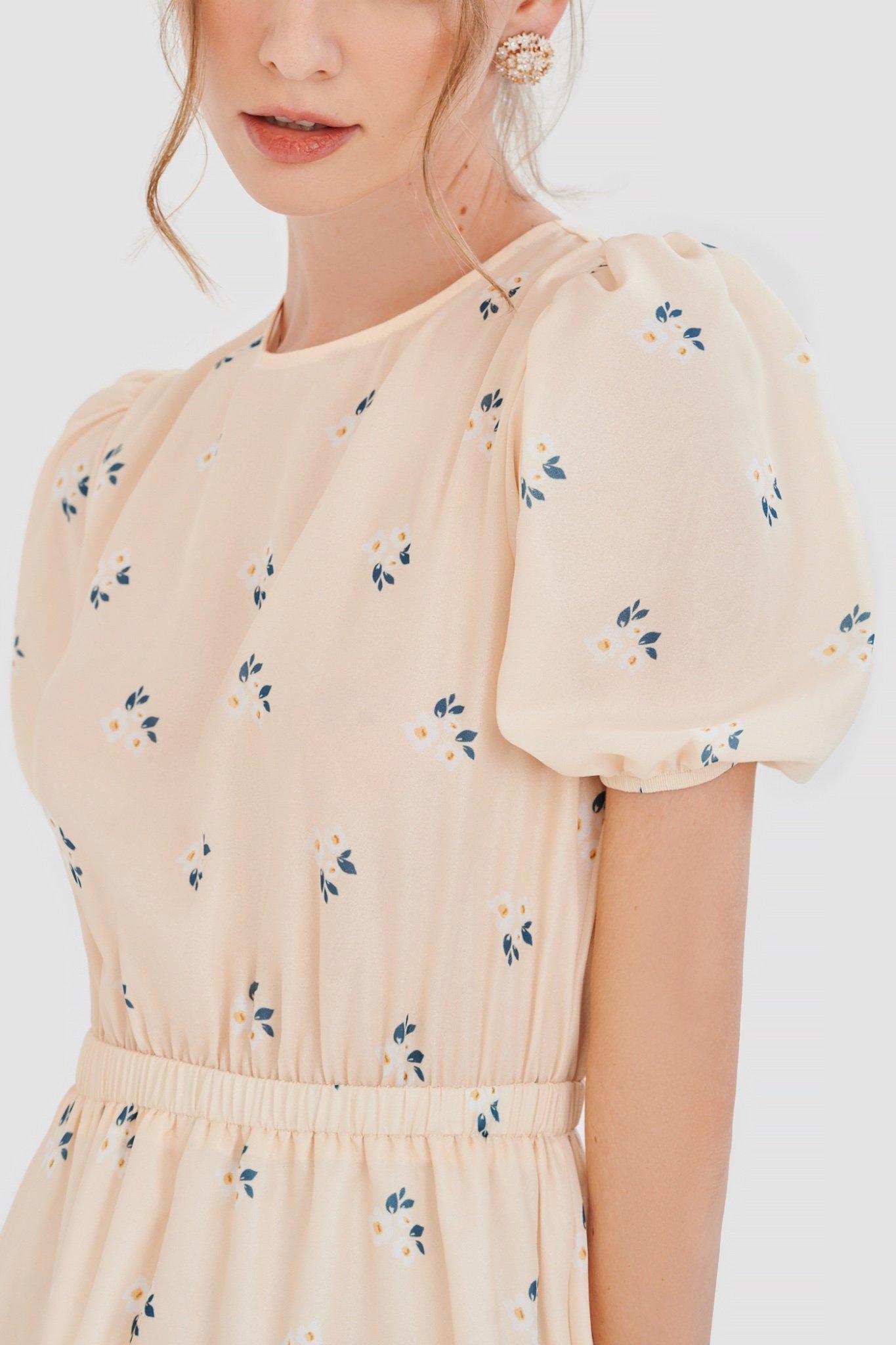 Đầm lưng thun bèo nhỏ hoạ tiết