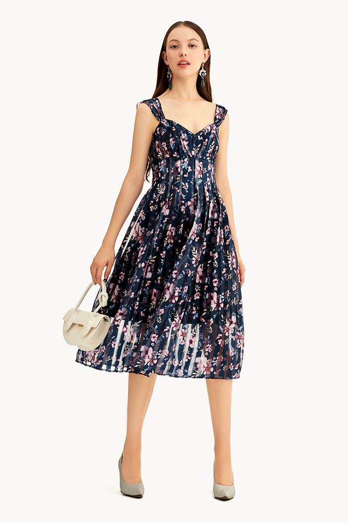 Đầm hoa văn sheer 2 dây