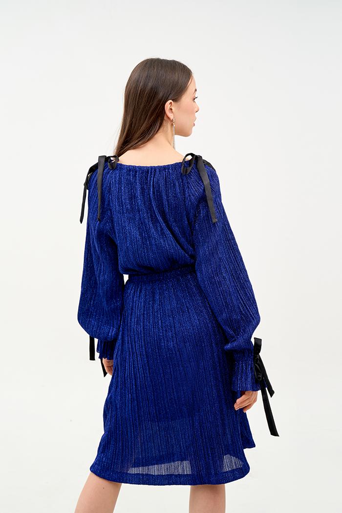 Đầm cổ thuyền cột nơ vai tay dệt sợi kim tuyến