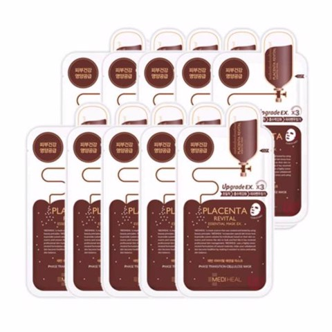 Combo of 10 Mediheal Placenta Revital Essential Mask Ex (25ml X10)