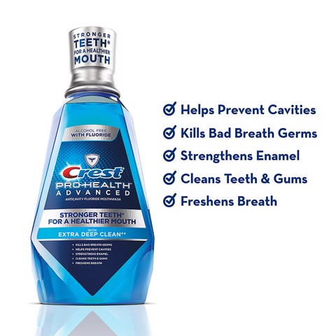 Nước Súc Miệng Crest 3D Pro Health Advantage Stronger Teeth For A Healthier Mouth With Extra Deep Clean 1L