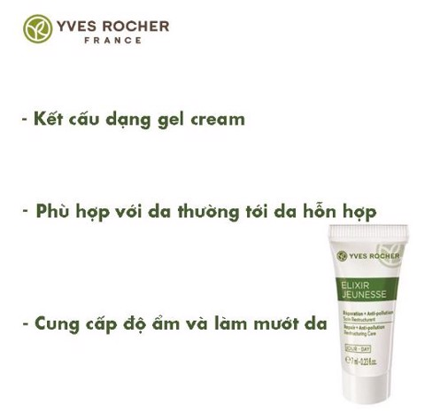 Kem Dưỡng Ngày Yves Rocher Mini Elixir Jeunesse Repair + Anti Pollution Restructuring Day Care 7ml