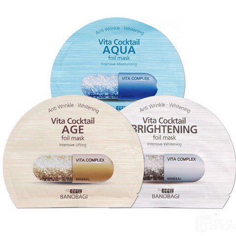 Combo of 10 Banobagi Vita Cocktail Foil Mask For Dry Skin 30Mlx10 #Aqua