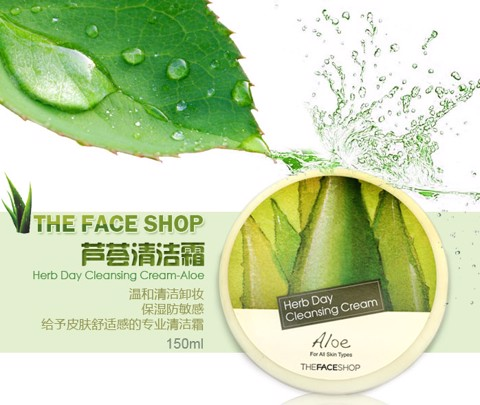Kem Tẩy Trang The Face Shop Herb Day Cleansing Cream 150ml #Aloe
