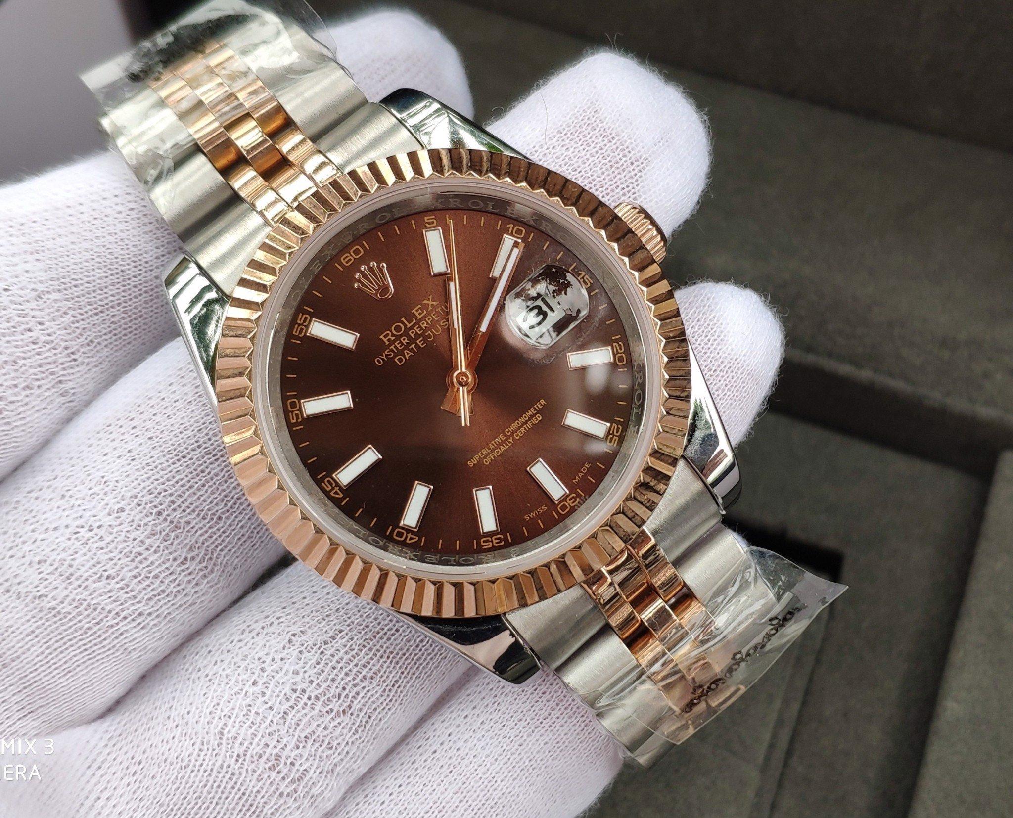 Đồng hồ cơ Rolex daydate bản 38mm RL41494 mặt nâu demi