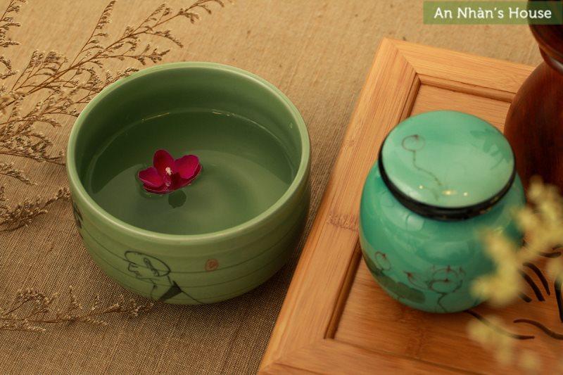 Tô trán chén trà xanh ngọc