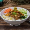 RICE NOODLES WITH VEGETARIAN MARINATED CHAR-GRILLED PORK