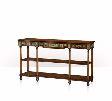 5305-142 Table - Bàn A pollard burl and turquoise stone inlaid console table