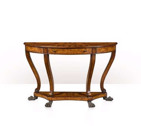 5305-056 Table - Bàn A burl parquetry inlaid demi lune console table