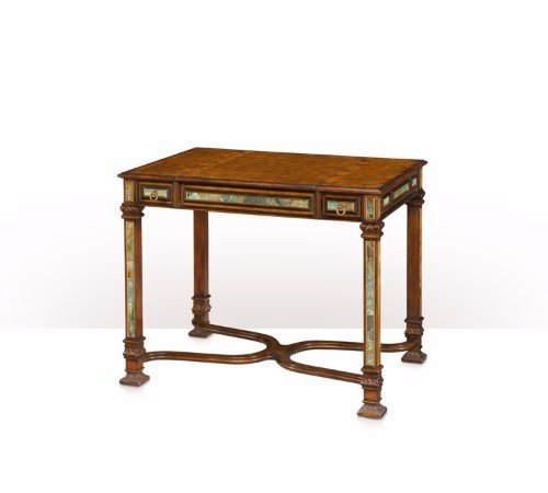 5205-078 Table - Bàn A pollard burl and turquoise stone inlaid games table
