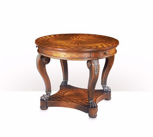 5005-016 Table - Bàn A walnut and burl parquetry sunburst centre table