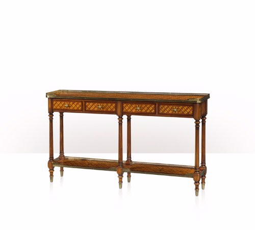 5305-003 Table - Bàn A burl lattice parquetry, brass mounted console table