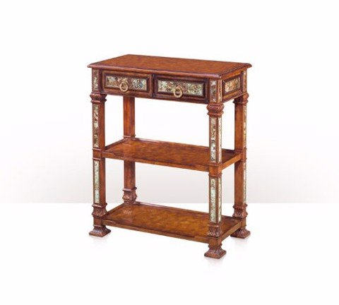 5305-139 Table - Bàn A pollard burl and turquoise stone panelled console table