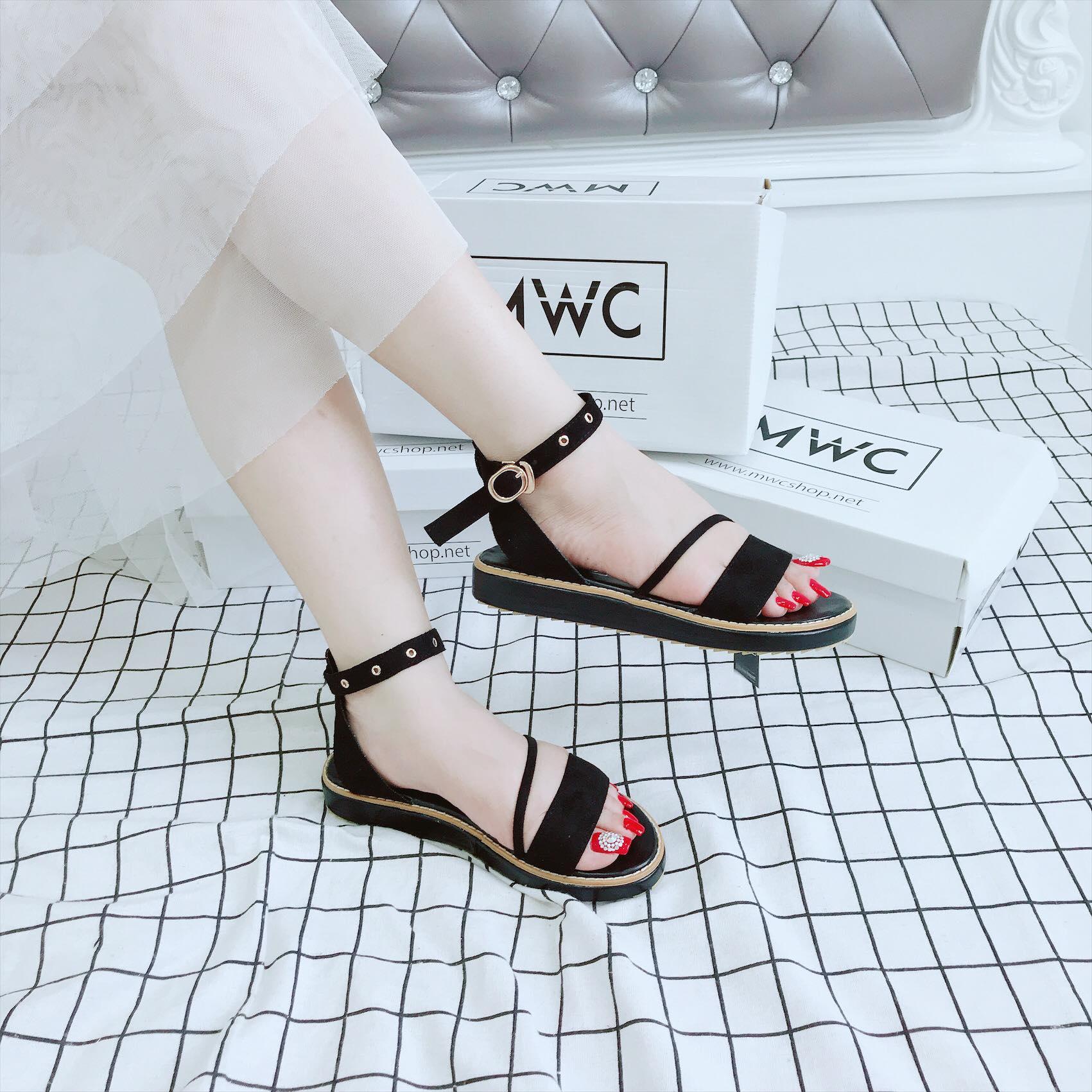Giày sandal nữ MWC NUSD- 2605 - ĐEN