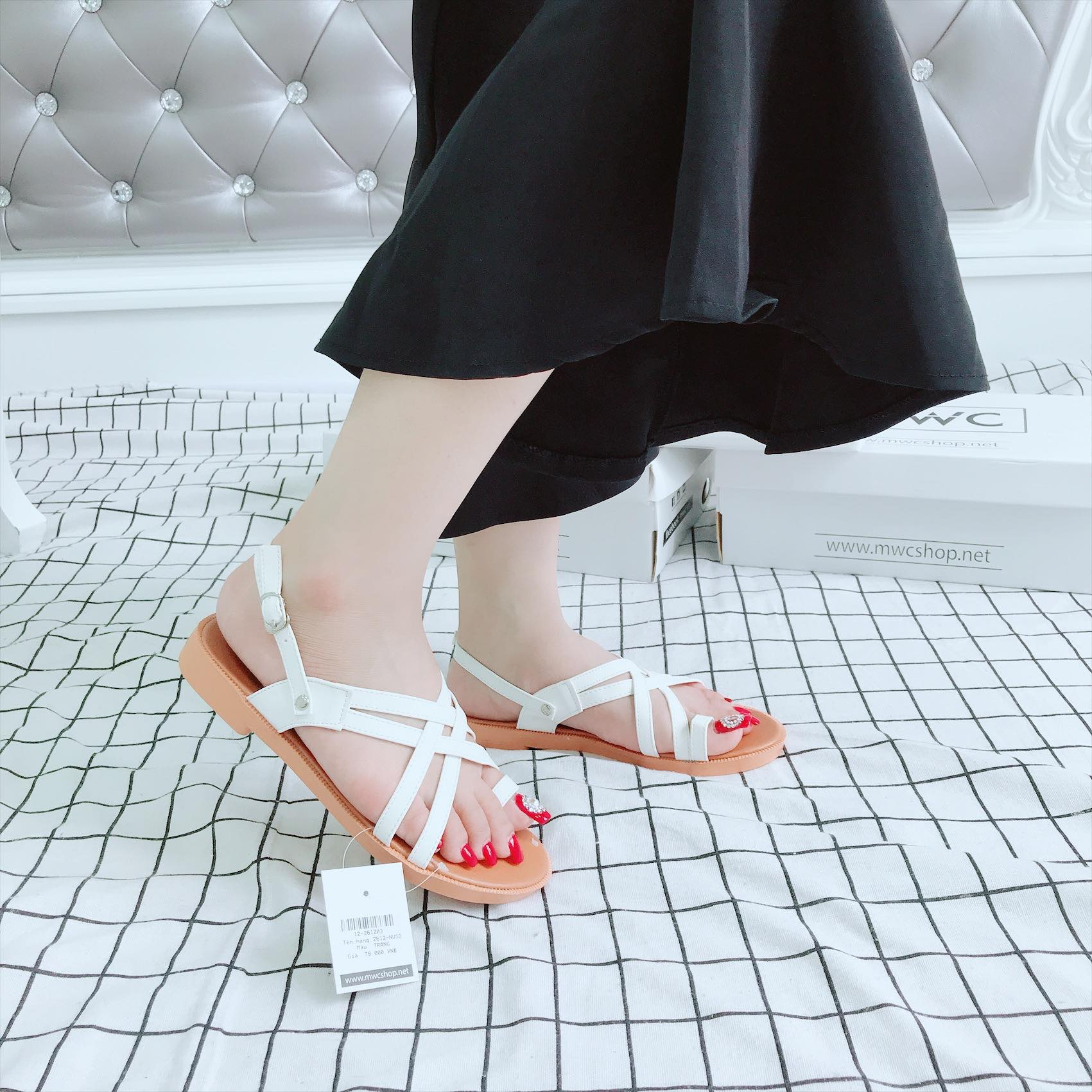 Giày sandal nữ MWC NUSD- 2612 - TRẮNG