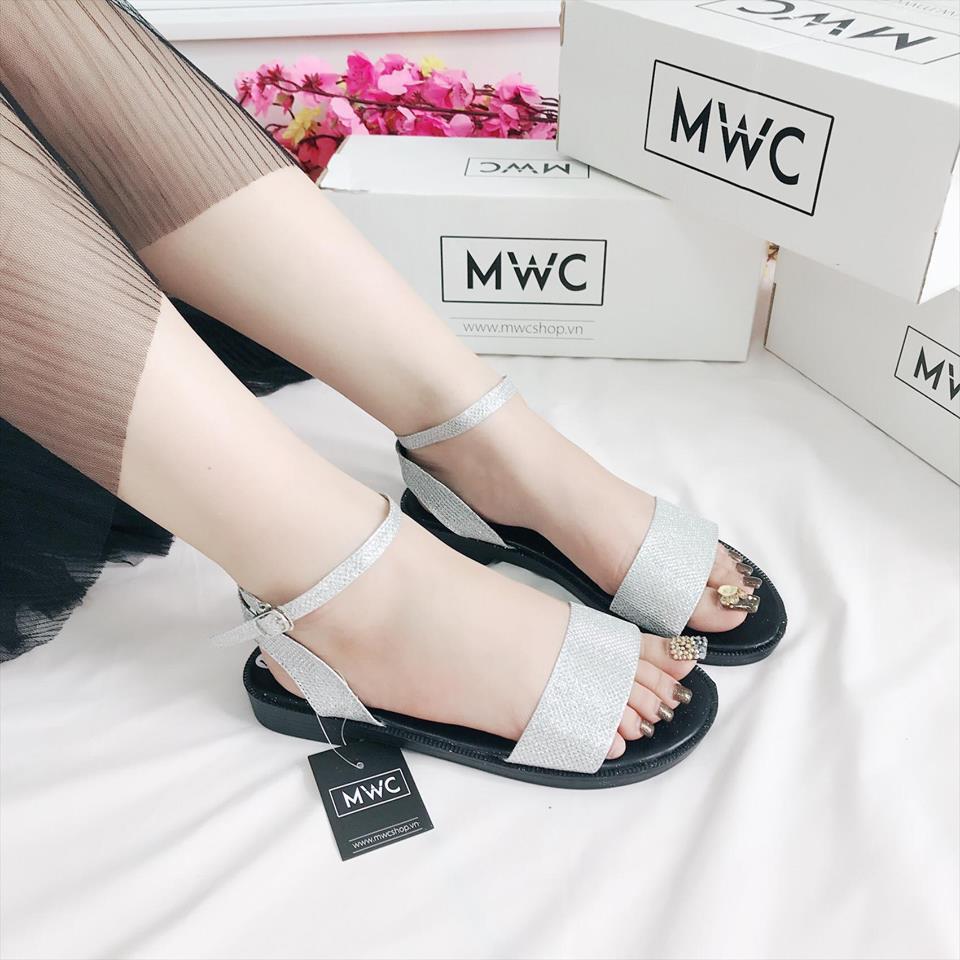Giày sandal nữ MWC NUSD- 2582 - BẠC