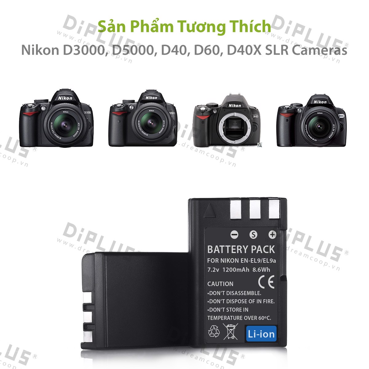 Pin máy ảnh Nikon EN-EL9 EN-EL9A Nikon D3000 D5000 D60 D40 D40X enel9 enel9a