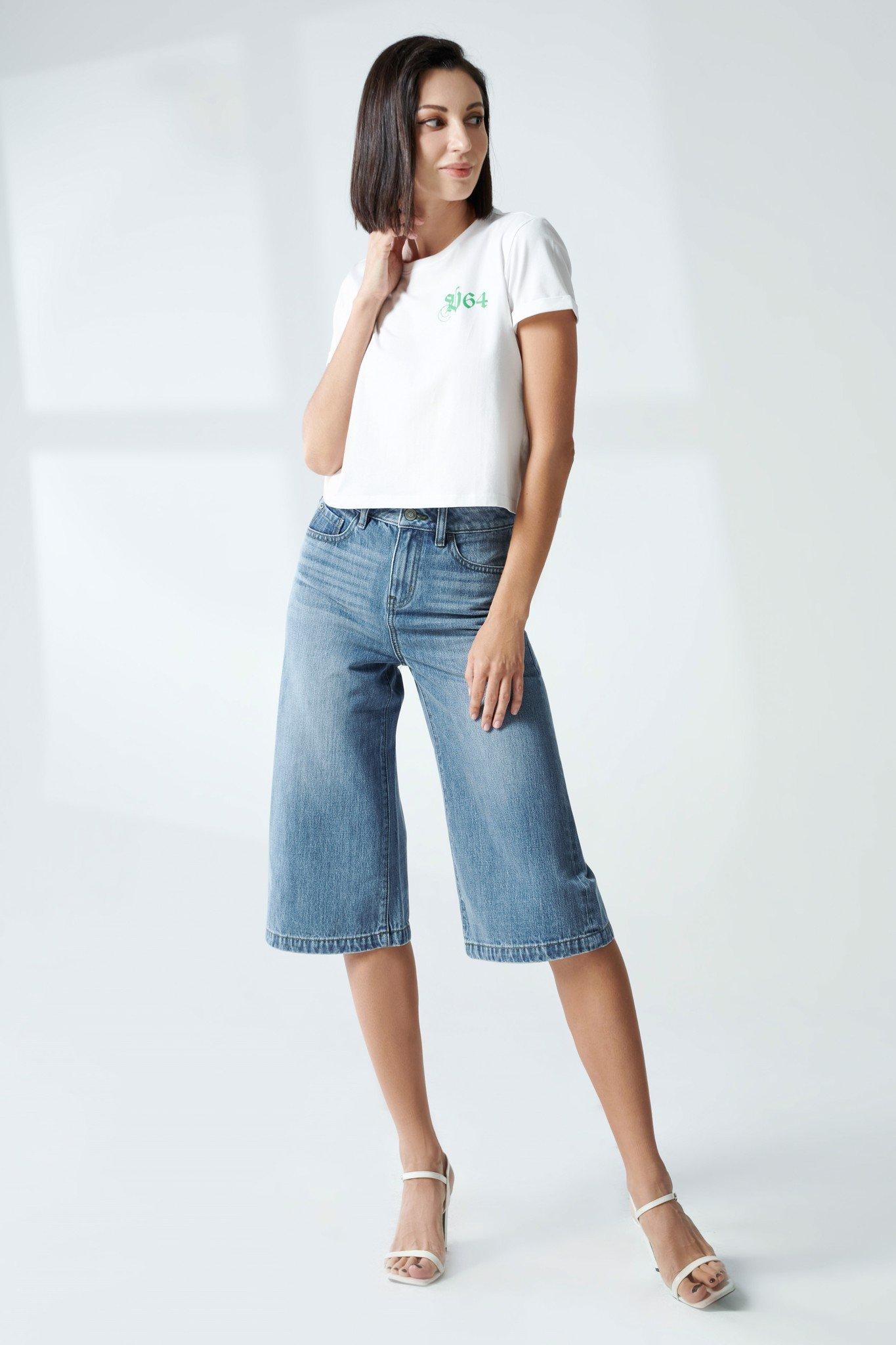 Quần jeans nữ lửng dáng loe - 220WD2094B1950
