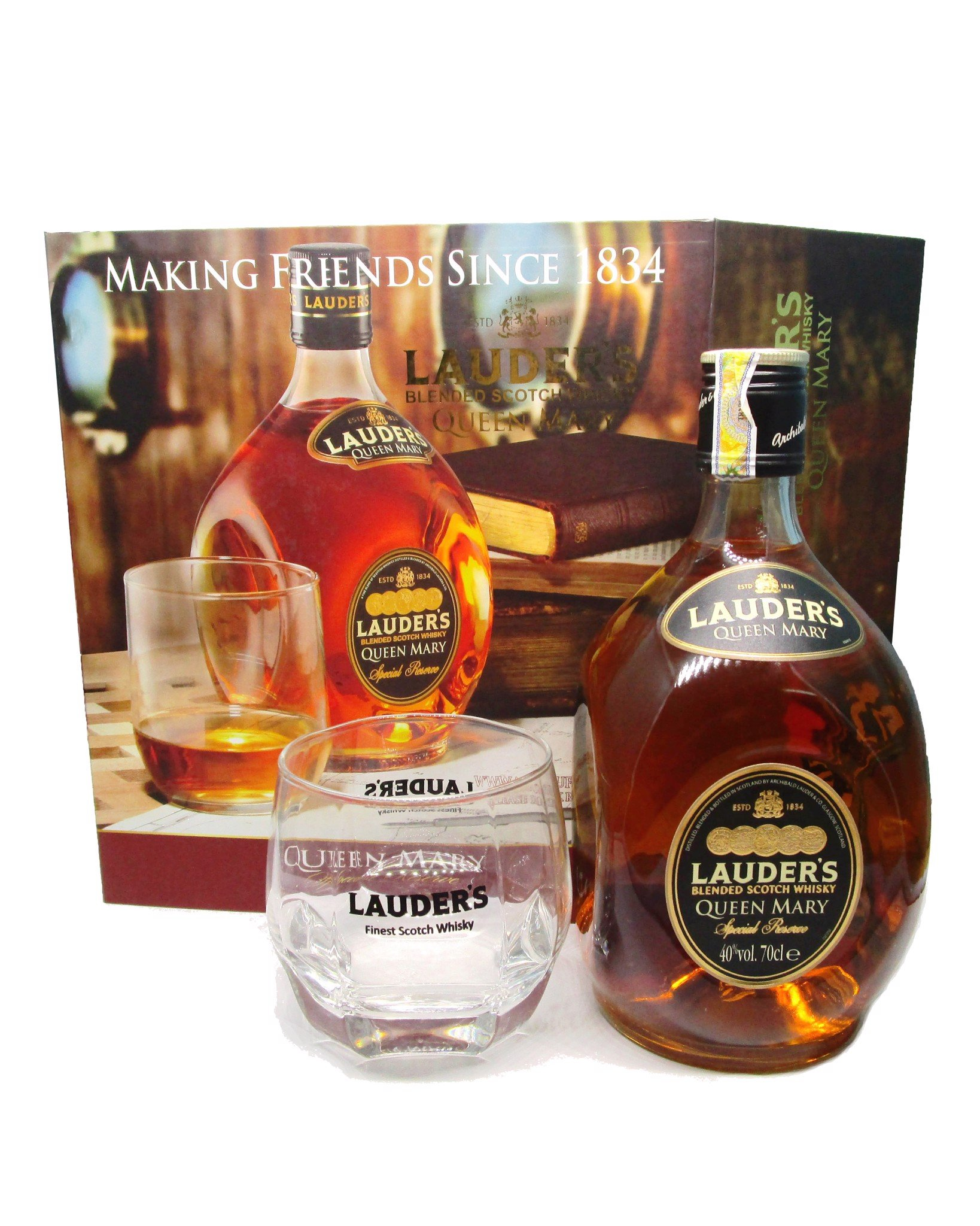 Hộp Quà Whisky Scotland Lauder's Queen Mary & Ly thủy tinh