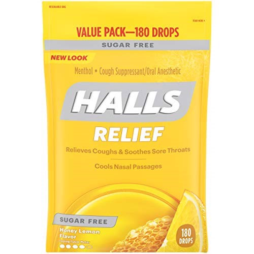 Kẹo HALLS Sugar-Free Cough Drops Honey Lemon, 180 Viên