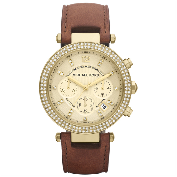 Đồng Hồ Nữ Michael Kors Chronograph Gold Dial Brown Leather MK2249, 39mm