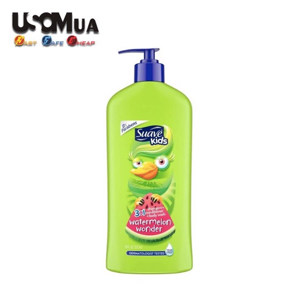 Tắm Gội SUAVE Kid's 3in1 Watermelon Wonder Tear Free, 532ml