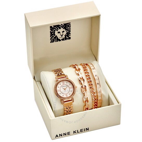 Đồng Hồ Anne Klein Blush Mother of Pearl Crystal Dial, AK/3400BHST