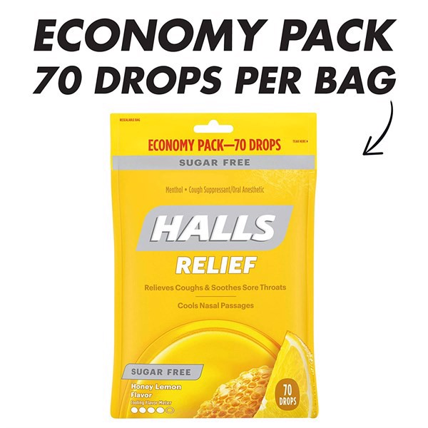 Kẹo Halls Relief Honey Lemon Flavor, Sugar Free, 70 Drops
