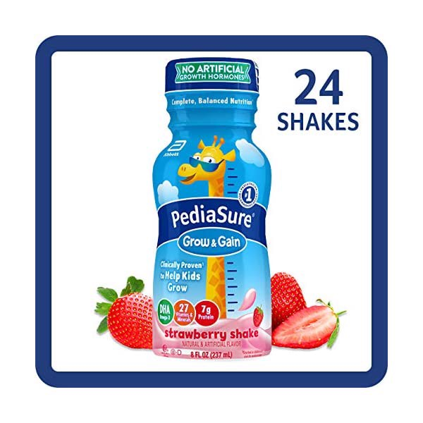 Sữa Nước PediaSure Grow & Gain Strawberry Shake, 237ml x 24 Chai