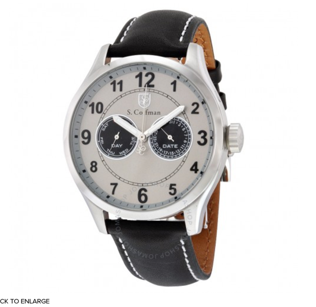 Đồng Hồ Nam S.COIFMAN Multifunction Grey Dial Black Leather SC0315, 44mm