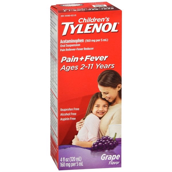 TPCN Children's Tylenol Pain + Fever Ages 2-11 Years Dry-Free Grape Flavor, 120ml