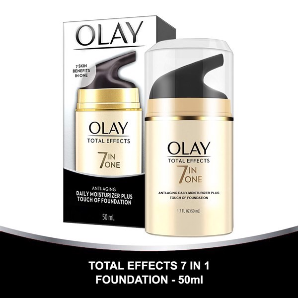 Kem Dưỡng Da Olay Total Effects 7-in-One Anti-Aging Daily Moisturizer Plus Touch Of Foundation, 50ml