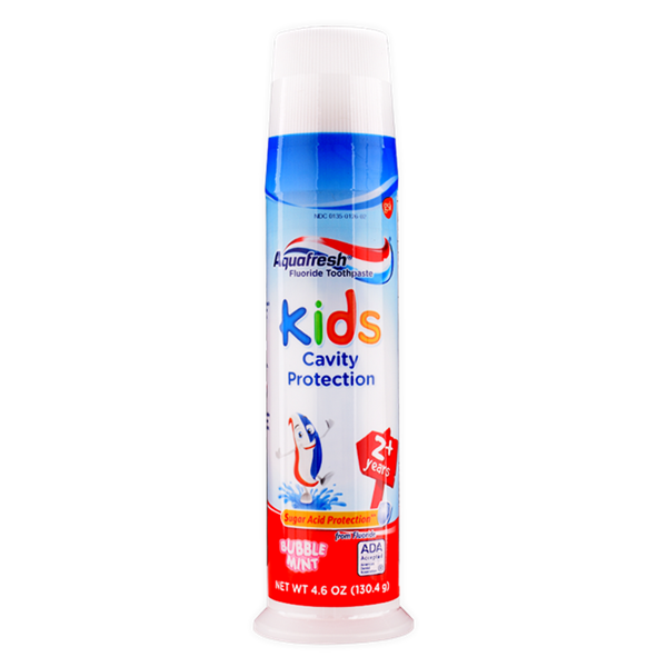 Kem Đánh Răng Aquafresh Kids Cavity Protection Bubble Mint 2 Years+, 130.4g