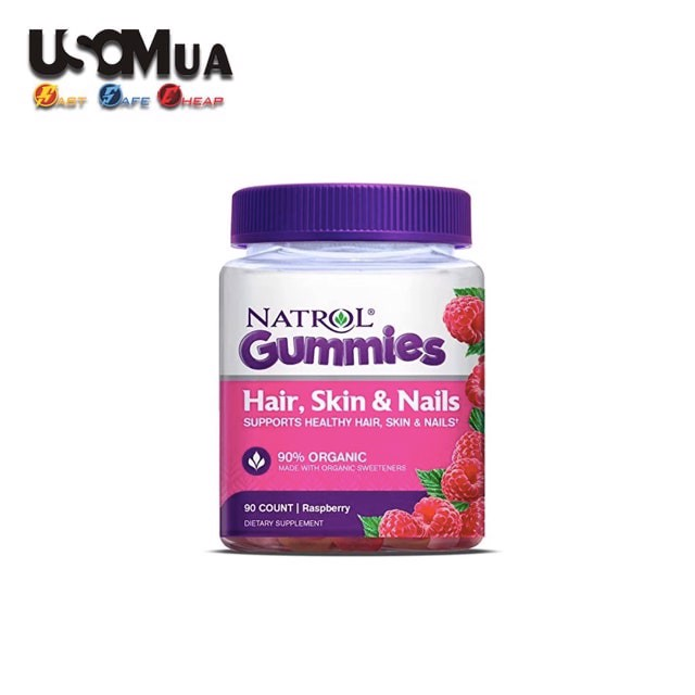 Kẹo Dẻo NATROL Gummies Hair, Skin, Nails, Raspberry, 90 Count