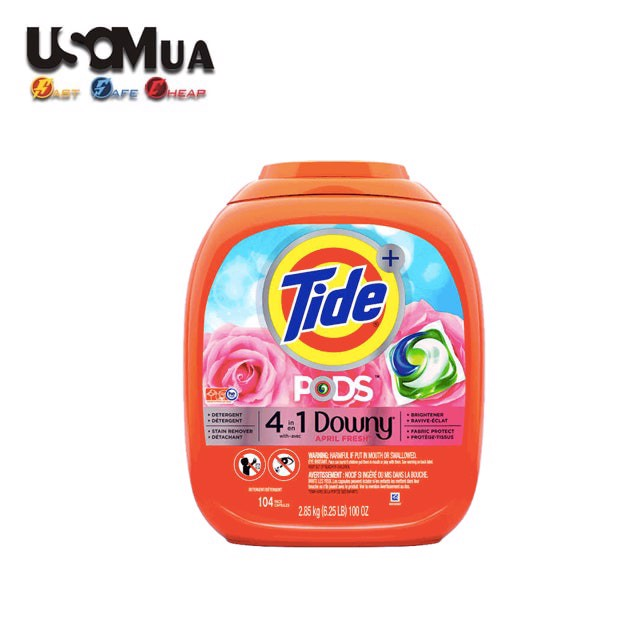 Viên Giặt Tide Pods Plus Downy April Fresh, 104 Pacs