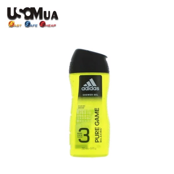 Gel Tắm, Gội, Rửa Mặt Adidas 3in1 Pure Game Relaxing, 250ml