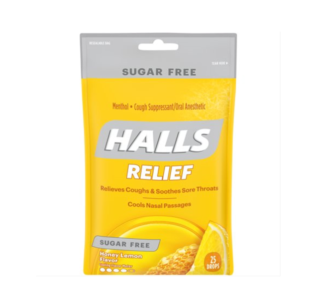 Kẹo Halls Relief Honey Lemon Flavor Sugar Free, 25 Drops