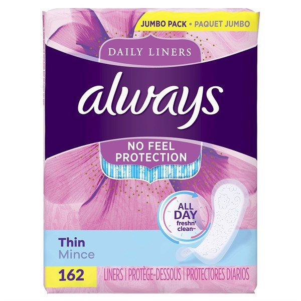 Băng Vệ Sinh Always Daily Liners No Feel Protection Thin Mince, 162 Miếng