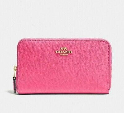 Ví Coach Medium Zip Around Wallet Leather Pink Confetti 58584 Nwt