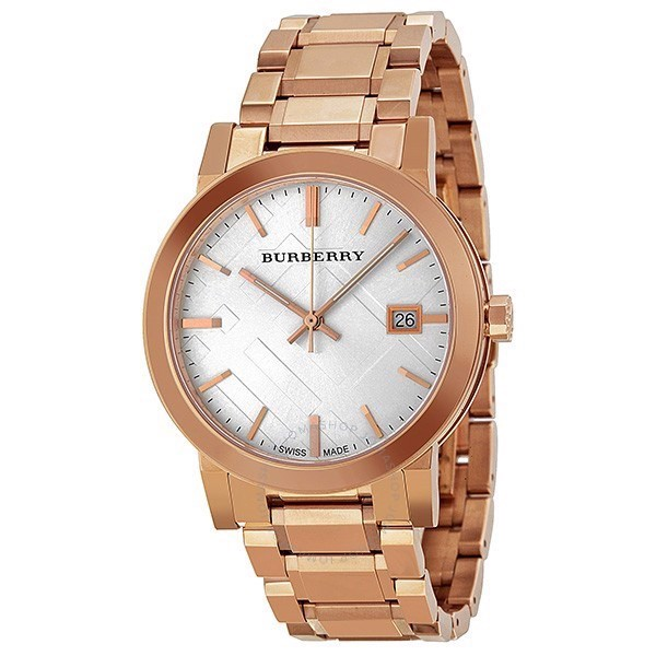 Đồng Hồ Unisex Burberry White Check Pattern Dial Rose Gold-Plated BU9004, 38mm