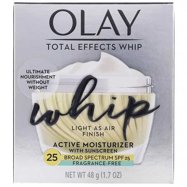 Kem Dưỡng Da Olay Total Effects Whip, Active Moisturizer With Sunscreen SPF25 Fragrance-Free, 48g