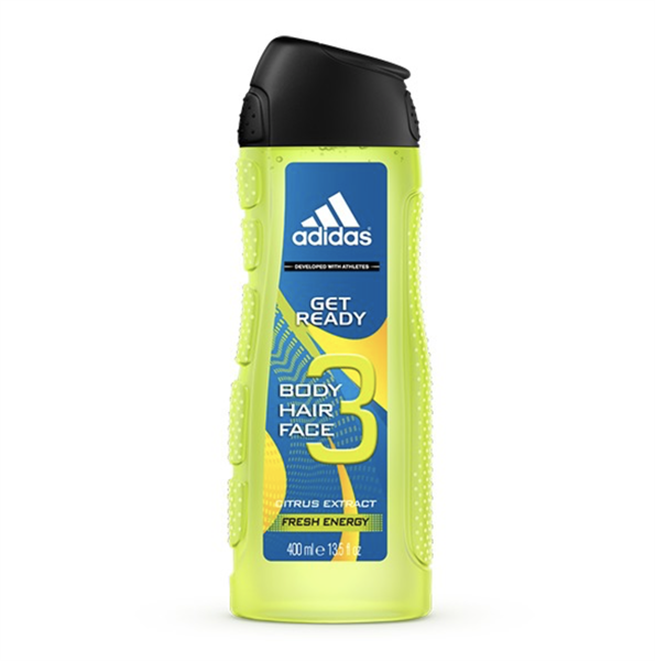 Gel Tắm, Gội, Rửa Mặt Adidas 3in1 Get Ready Citrus Extract Fresh Energy, 400ml