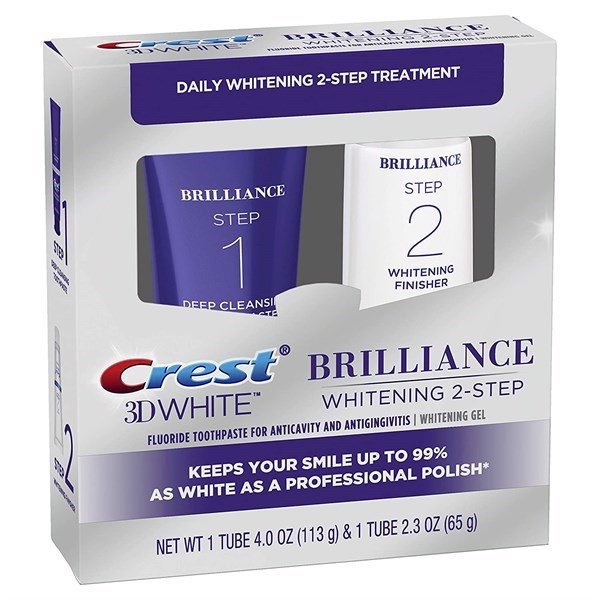 Set Kem Đánh Răng Crest 3D White Brilliance + Whitening Two-Step, 113g & 65g